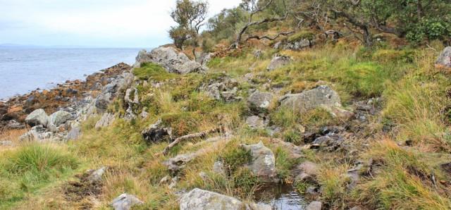 30 rough terrain, Arran Coastal Way, Ruth hiking in Scotland