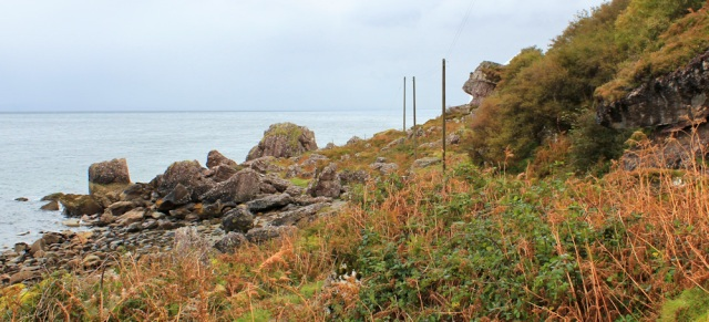 35 fallen rocks, Ruth on the north east coast of Arran
