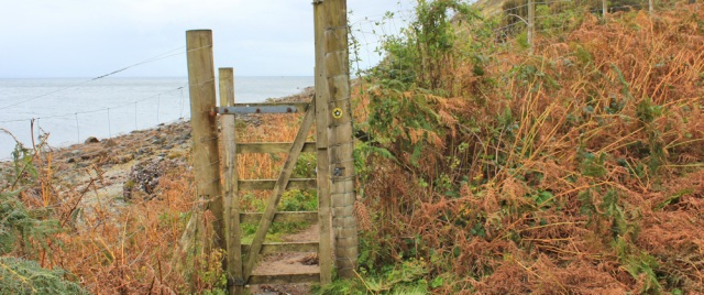 36 deer fence and gate, Ruth hiking on the Isle of Arran