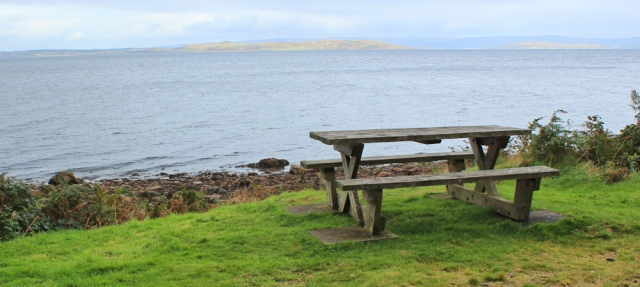 38 picnic benches, Ruth Livingstone on Arran