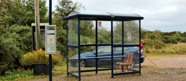 52 car park and bus stop with chairs, Sannox, Ruth Livingstone
