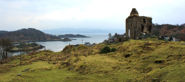 02 Tarbert Castle, Ruth walking the Kintyre Way, Scotland