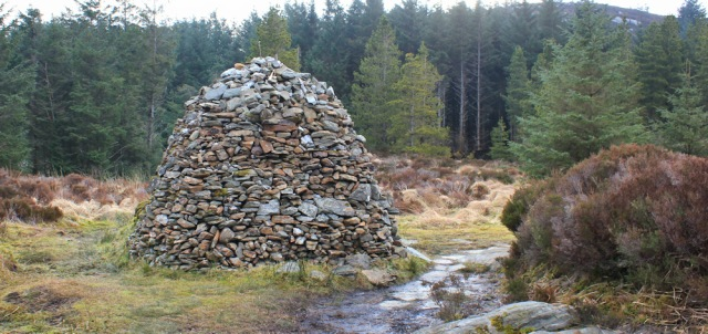 15 cairn beside the path, Ruth hiking from Tarbert, Kintyre Way