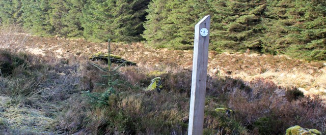 22 three mile marker, Kintyre Way, Ruth hiking from Tarbert