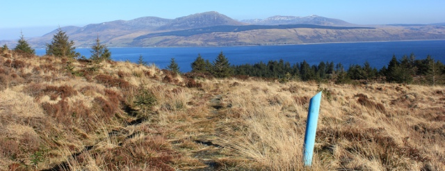 28 top of the path, Ruth hiking the Kintyre Way to Carradale