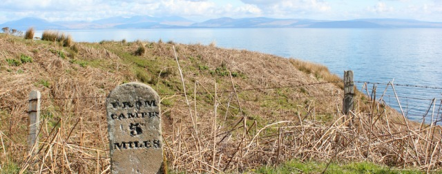 13 old milestone, Ruth hiking the road to Southend, Mull of Kintyre