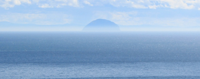 17 Ailsa Craig, Ruth hiking towards the Mull of Kintyre