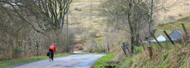 19 cyclist on road to Campbeltown, Ruth's coastal walk, Kintyre, Scotland