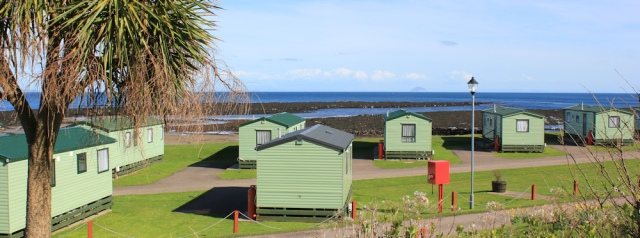31 Peninver caravans and palm trees, Ruth's coastal walk, Scotland
