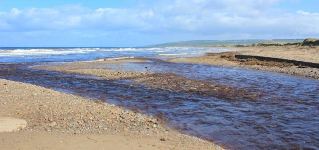 04 Machrihanish Water, Ruth hiking the Mull of Kintyre, coast of Scotland