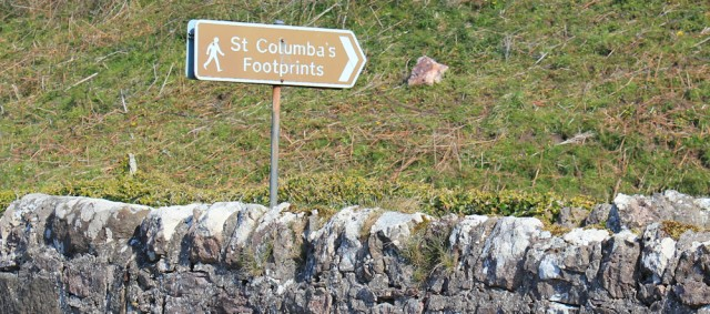 08 sign to St Columba's footprints, Ruth's coastal walk, Mull of Kintyre