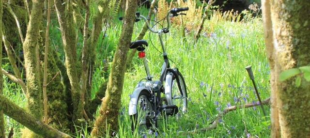 12 my fold up bike, Ruth Livingstone hiking in Scotland