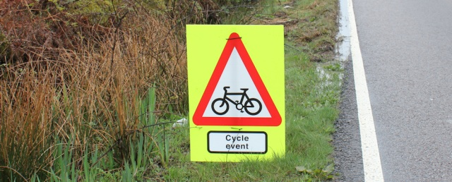 16 cycle event sign, Ruth's coastal walk around Kintyre, Scotland