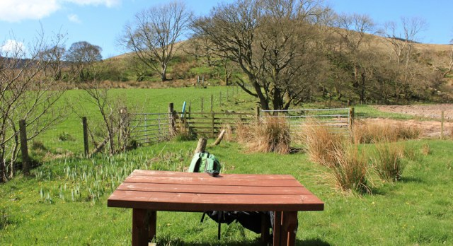 21 picnic spot, Kintyre Way, Ruth Livingstone hiking the Mull of Kintyre