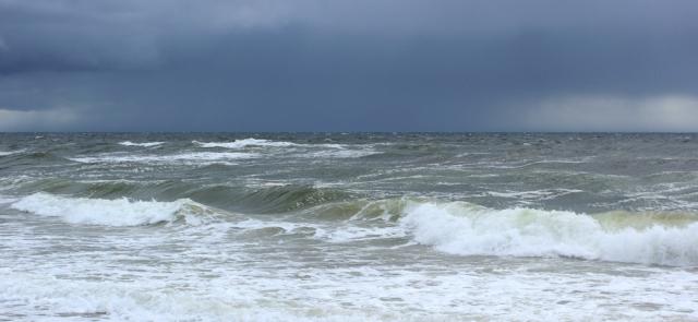25 rainstorm out to sea, Ruth Livingstone walking the Scottish coast