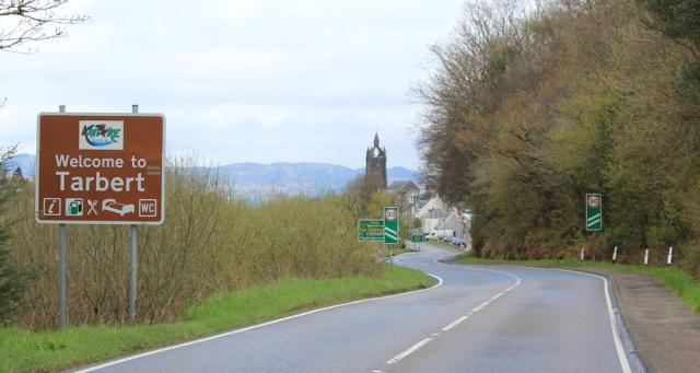 28 Tarbert signpost, Ruth's coastal walk around Kintyre, Scotland