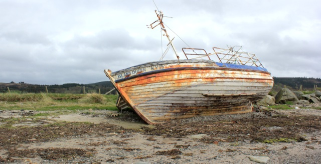 34 wrecked ship, Island Queen, Rhunahaorine Point, Kintyre, Ruth's coastal walk, Scotland