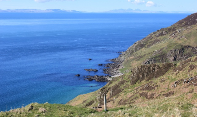 45 steep slopes, Ruth hiking the Kintyre Way, over the Mull