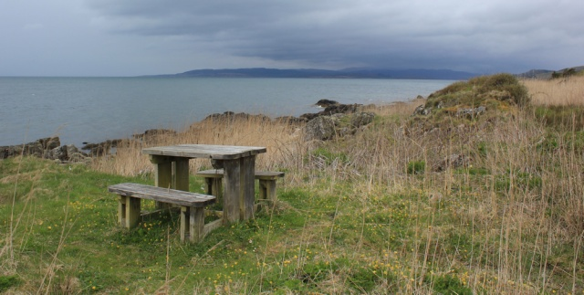 47 picnic bench, Kintyre Way, Ruth's coastal walk around Scotland