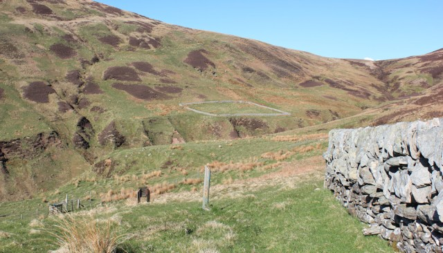47 Sheepfolds, Innean Glen, Ruth hiking the Kintyre Way