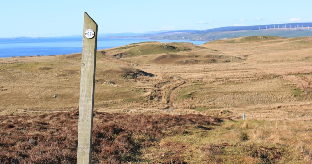 53 three miles to Machrihanish, Ruth hiking the Kintyre Way
