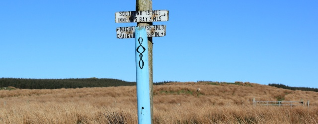 55 signpost to Inneans Bay, Ruth's coastal walk, Mull of Kintyre