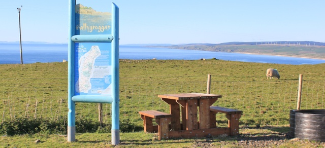 57 Ballygroggan car park and picnic bench, Ruth's coastal walk, Mull of Kintyre