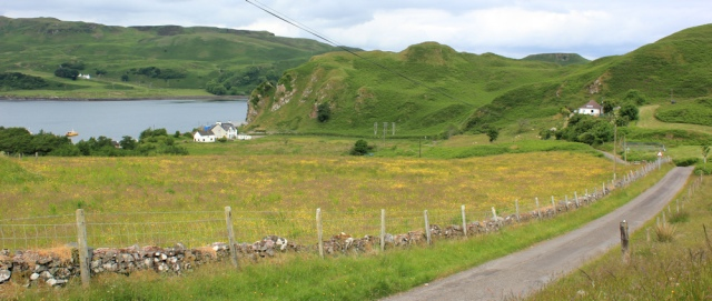 02 road to Karrera Sound, Ruth walking the coast of Scotland