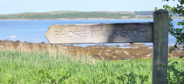 06 shore walk sign, Ruth's coastal walk, Knapdale, Scotland