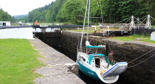08 ship in lock, Crinan Canal, Ruth's coastal walk, Scotland