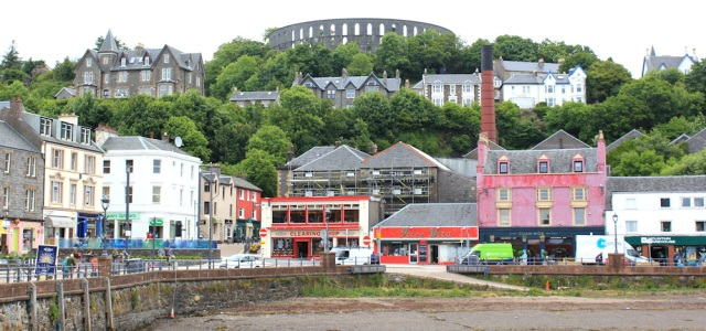 11 Oban waterfront, Ruth walking the coast of Scotland