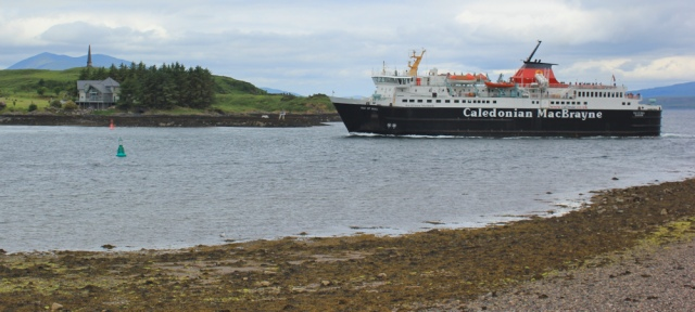 13 ferry ariving at Oban, Ruth walking the coast of Scotland