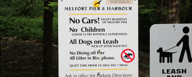 13 Melfort Pier unfriendly signs, Ruth's coastal walk around Scotland