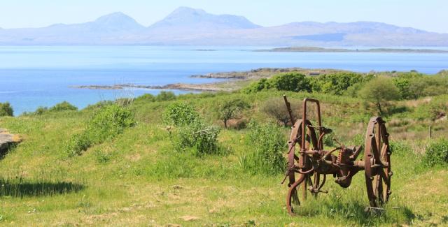 15 view of Jura, Ruth hiking to Kilmory