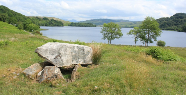 19 Chambered cairn above Loch Nell, Ruth hiking in Argyll, Scotland