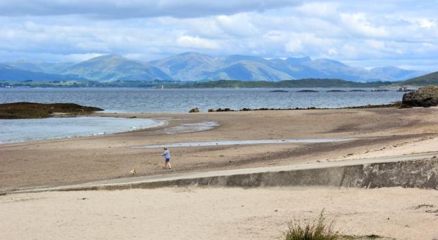 19 Ganavan Bay and Glencoe, Ruth walking the coast of Scotland