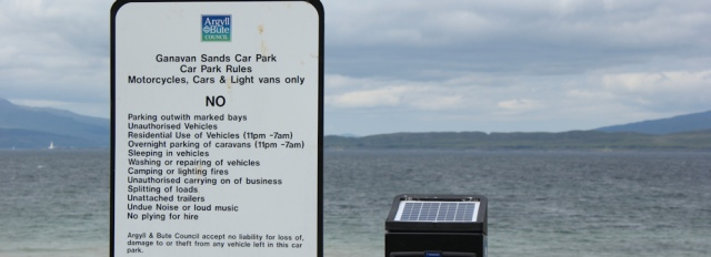20 Ganavan Sands car park rules, Ruth walking the coast of Scotland