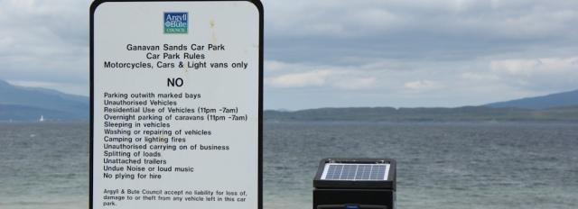 20 Ganavan Sands car park rules, Ruth walking the coast of Scotland