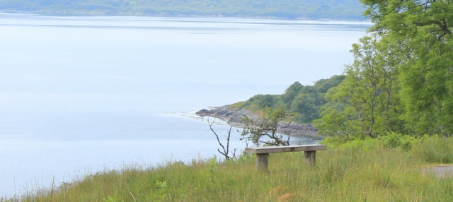 25 bench with a view, Loch Melfort, Ruth's coastal walk around Scotland