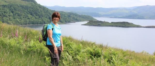 26 self portrait, Ruth hiking the shore of Loch Melfort, Scotland