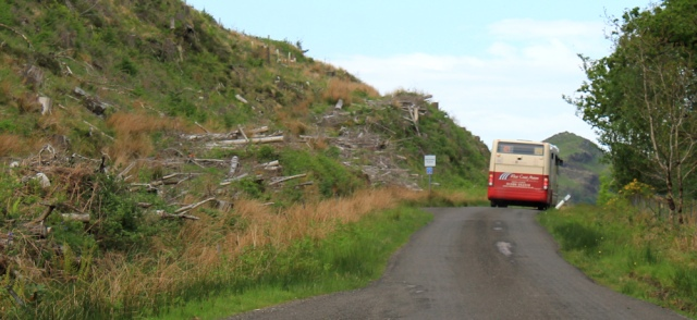 30 logging and buses, Ruth's coastal walk, Argyll, Scotland