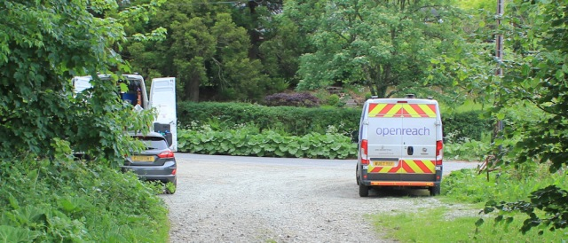 30 openreach vans, Ruth hiking in Argyll