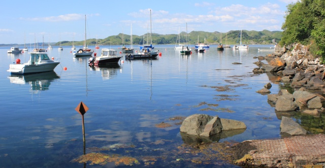 34 boats in Crinan harbour, Ruth's coastal walk, Argyll