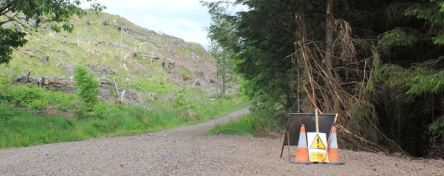 34 road closed sign, Black Mount, Ruth's coast walk around Scotland