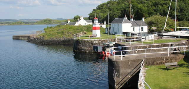 39 opening to the Crinan Canal, Ruth Livingstone hiking through Argyll