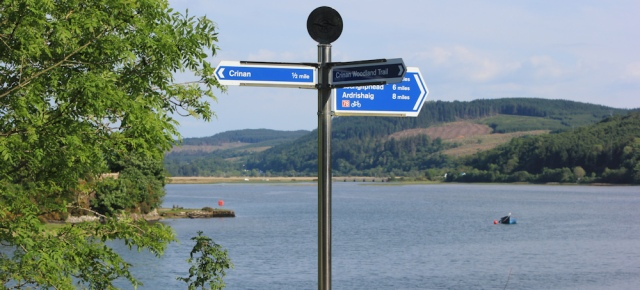 42 cycling route signs, Ruth Livingstone hiking the Crinan Canal