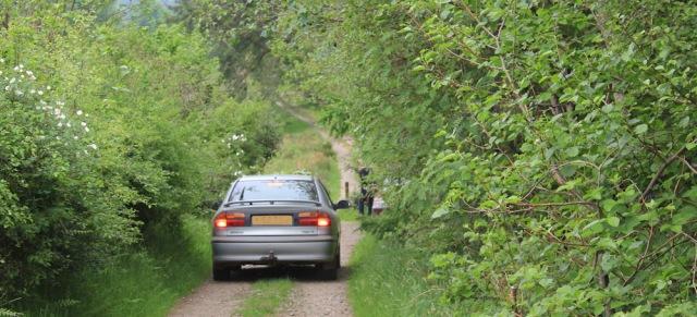 57 car on track to Carnassarie Castle, Kilmartin, Ruth Livingstone