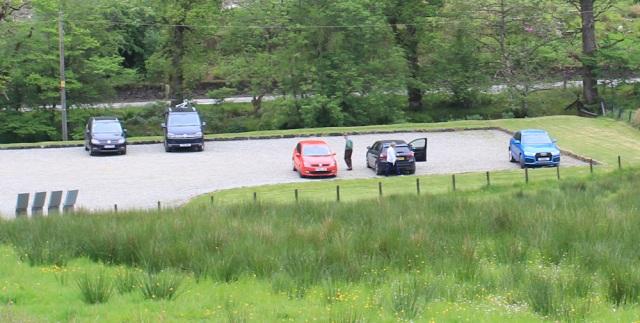 63 car park, Carnassarie Castle, Ruth walking in Argyll