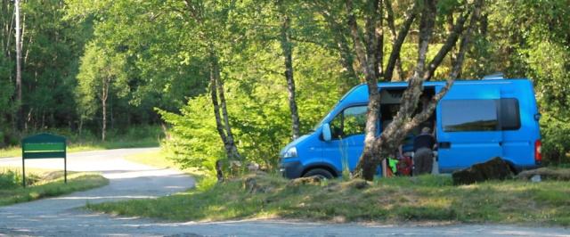 64 camper van, forestry car park, Ruth's coastal walk, Argyll