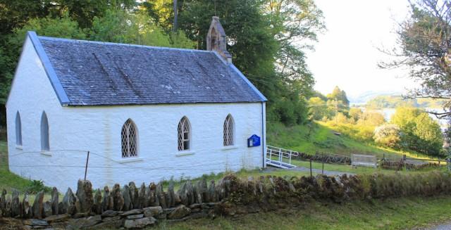 72 Bellanoch church, Ruth walking the coast of Argyll, Scotland